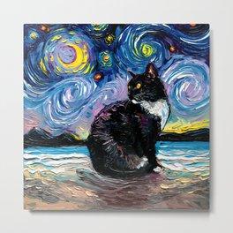 Tuxedo Cat on a Beach on a Starry Night Metal Print