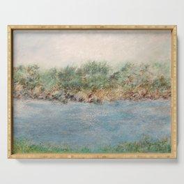 East Coast 1 Medium Color Tone, Coastal Sentiments, Oil Pastel Drawing Serving Tray