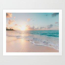 Ocean Wave and Sunset Beach Art Print