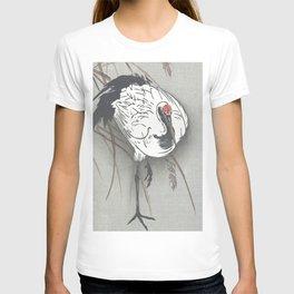 Crane in the Grass - Vintage Japanese Woodblock Print Art T-shirt