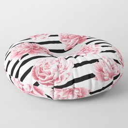Simply Drawn Stripes and Roses Floor Pillow