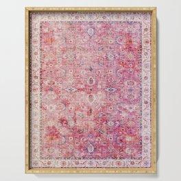 Pink Vintage Antique Oriental Traditional Moroccan Original Artwork Serving Tray