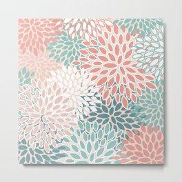 Modern Flowers Print, Coral, Pink and Teal Metal Print