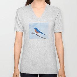 male eastern bluebird portrait Unisex V-Neck