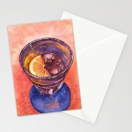 Glass of Ice drink with Lemon original. Stationery Cards