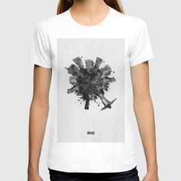 Rio de Janeiro, Brazil Black and White Skyround / Skyline Watercolor Painting T-shirt