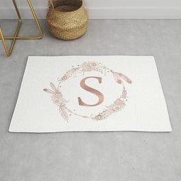 Letter S Rose Gold Pink Initial Monogram Rug