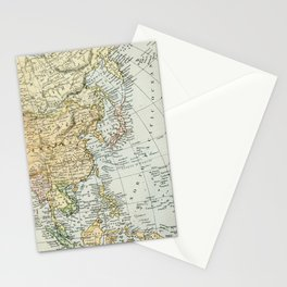 China, Russia, Japan Vintage Map Stationery Cards