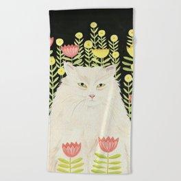 Persian Cat in summer garden Beach Towel