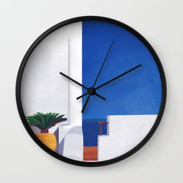 Beyond the White Wall - Santorini, Greece - Minimal Travel Print - Romantic Coastal Vibes Wall Clock