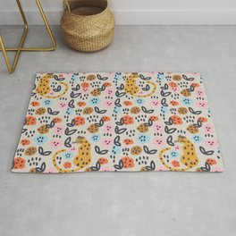 Flowers and cats pattern Rug