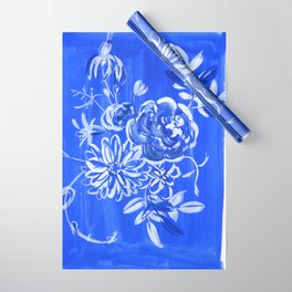 blue and white: floral composition Wrapping Paper