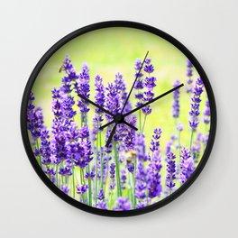 Lavender Flowers Pattern Wall Clock