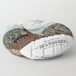 Milwaukee Wisconsin - Vintage Panoramic View Floor Pillow