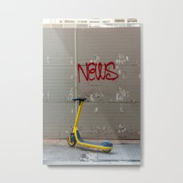 """Bright yellow scooter parked in front of a wall with the word """"news"""" written Metal Print"""