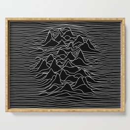 Black and white illustration - sound wave graphic Serving Tray