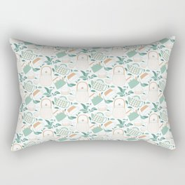 Mint Green And Tan Teapots and Mugs Rectangular Pillow