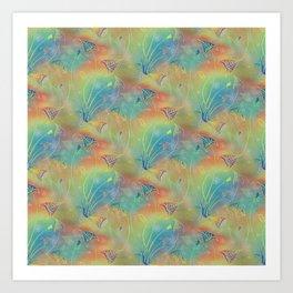 Rainbow Sparkles Leaves Flowers Art Print