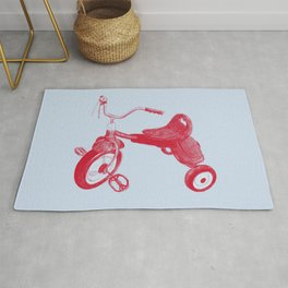 Kids Red Trike on Blue Background Rug