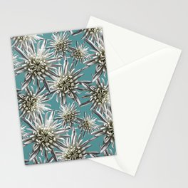 Mum Floral Pattern - Mum's the word - Auqa and White Floral Design - White Mum Flowers - I Love my M Stationery Cards