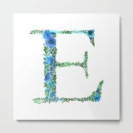 Floral Monogram Letter E Metal Print