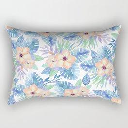 Tropical coral lilac lavender blue watercolor floral Rectangular Pillow