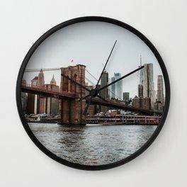 Skyline with Brooklyn Bridge - 2 | Colourful Travel Photography | New York City, America (USA) Wall Clock