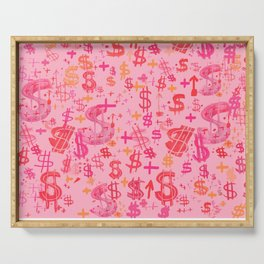 Pink Dollar Signs Serving Tray