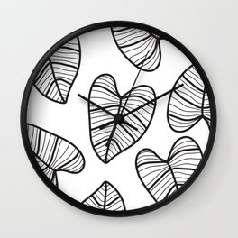 Taro Leaf with White Background Wall Clock