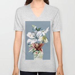 Hummingbird with Flowers Unisex V-Neck