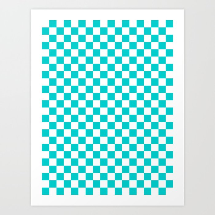 White and Cyan Checkerboard Kunstdrucke