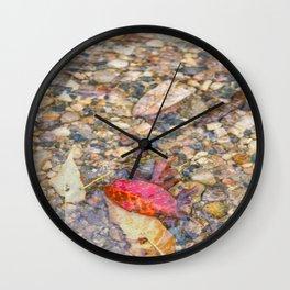 Red Leaf Stuck Among Watery Rocks Wall Clock