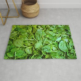 Fresh green spinach salad pattern Rug