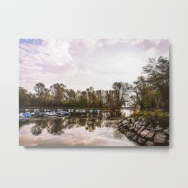 Boats moored on the Ticino river Metal Print