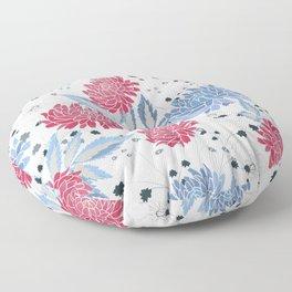 Red & blue hollyhocks Floor Pillow