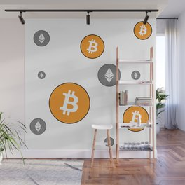 Ethereum and Bitcoin Pattern Wall Mural