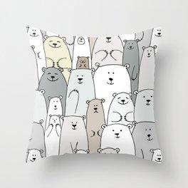 Bear family cartoon Throw Pillow