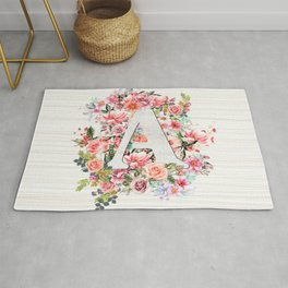 Initial Letter A Watercolor Flower Rug