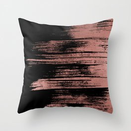 Modern black brushstrokes elegant faux rose gold Throw Pillow
