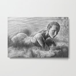On the Precipice of a Dream Female Form Line Drawing Metal Print