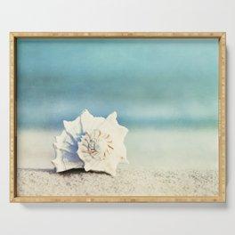 Seashell on Beach Photography, Aqua Blue Shell Coastal Photo, Teal Turquoise Ocean Seashore Serving Tray