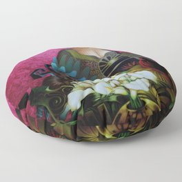 Flower Seller floral calla lilies and red bird fuchsia pink portrait painting Floor Pillow