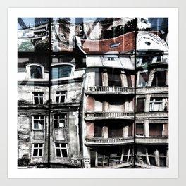 Reflections of Buildings on Buildings in Belgrade Art Print