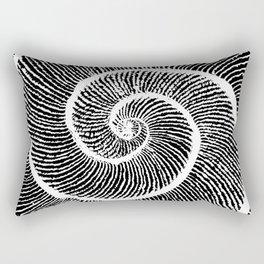 Double shell Fibonacci spiral Golden spiral white on black Rectangular Pillow