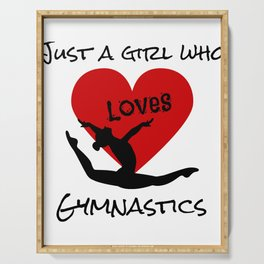 Gymnast Just a Girl Who Loves Gymnastics Serving Tray