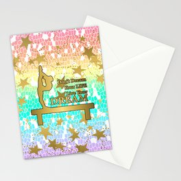 Pastel Rainbow Mosaic and Gold Stars Dream Design- Gymnastics Design Stationery Cards