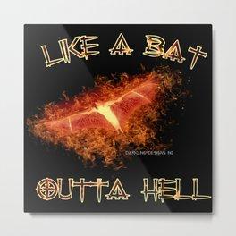 Like a Bat Outta Hell - Darkling Designs Inc 0007blkbg Metal Print