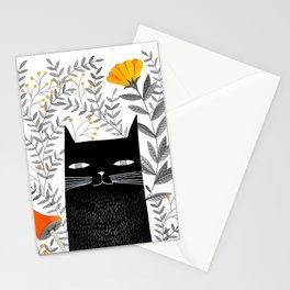black cat with botanical illustration Stationery Cards