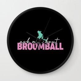 Broomball Stick Game Ball Helmet Gift Wall Clock