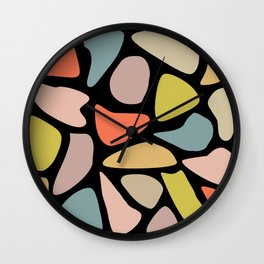 Pastel Blobs on Black Wall Clock